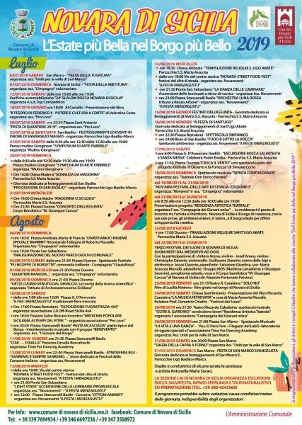 Estate 2019 a Novara di Sicilia - programma eventi luglio ed agosto